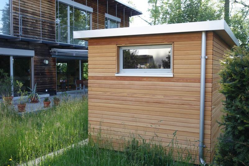 Gartenhaus lärchenholz baumberger bau ag